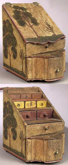 American Paint-Decorated Slant-Front Spice Box , c. 1800, the slant lid enclosing three tiers of small drawers, straight drawer over serpentine base drawer, attractive old paint surface (Lid with painted trees is probably an old replacement.) height 13 in., width 8 1/2 in., depth 11 in