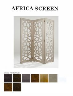 The Africa #Screen from ADRIANA HOYOS is available in Grafito, Dark Seike, Mink, Medium Seike, Caramel, Champagne, White, Dark and Medium finish. #modernfurniture #home
