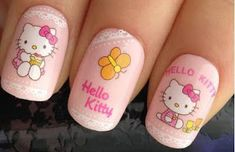 B'cuz I LuV Hello Kitty and like OMG! get some yourself some pawtastic adorable cat apparel! Latest Nail Designs, Creative Nail Designs, Creative Nails, Nail Art Designs, Fancy Nails, Cute Nails, Pretty Nails, Diy Nails, Hello Kitty Crochet
