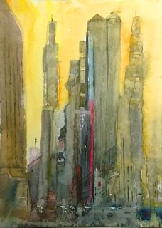 Finer Forms: Cityscape I, watercolor, size A5