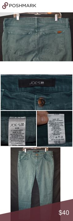 Joe's Jeans Straight and Narrow Dark Lake 38x34 Jeans are in great used condition with normal wear on thighs and leg bottoms.  Cool green color, Dark Lake.   Measurements taken laying flat      Waist- 19  Hip- 23  Rise- 10  Inseam-34   Thigh- 11  Leg Opening-8      Item #  11-01 3.0 Joe's Jeans Jeans Straight