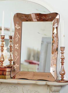 Vintage 1950's French etched mirror in rose gold color. Glam.