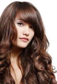 Wavy hair straight longer bangs