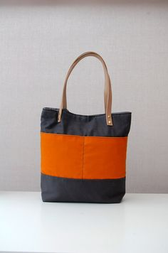 Waxed cotton canvas tote bag with leather handles by ForestBags
