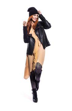 Ginger Cynthia Dress: BCBGMAXAZRIA Combo pot Cameron leggings:BCBGMAXAZRIA Black leather biker jacket: Danier Black high heel bootie: BCBGMAXAZRIA Black ribbed knit beanie: Forever 21 Rhinestone & hermatite ring: Le Château #poloparkfallstyle Black Leather Biker Jacket, Fall Is Here, Black High Heels, Leather Belts, Knit Beanie, Autumn Fashion, Campaign, Forever 21, Polo