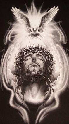 God and Jesus Christ Jesus Art, God Jesus, Croix Christ, Christus Tattoo, Body Art Tattoos, Sleeve Tattoos, Gott Tattoos, Jesus Drawings, Heaven Tattoos