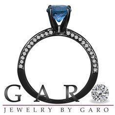 14K Black Gold Fancy Blue Diamond Engagement Ring Vintage Style 0.77 Carat Bridal Certified Micro Pave Handmade