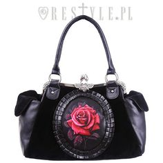 "Cameo bag ""RED ROSE"" Black Velvet, gothic romantic handbag (50 CAD) ❤ liked on Polyvore featuring bags, handbags, red handbags, black bag, rosette handbag, black handbags and velvet bag"