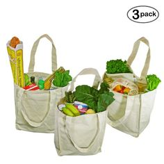 Organic Cotton Deluxe Grocery Bag, Natural 3 Pack.