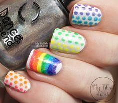 neon rainbow dots