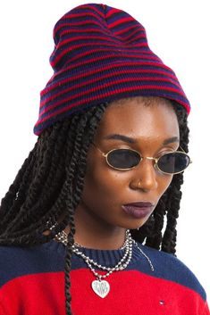 ItemVintage 90's Berry Stripe Beanie DetailsStretch comfy knit beanie in black, purple, and red stripes!  Labelnone ConditionExcellent!