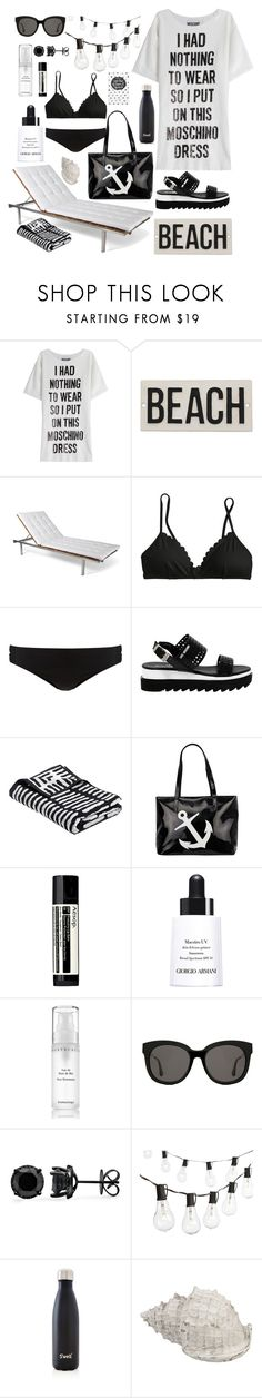 """beachinb&w"" by gretapom ❤ liked on Polyvore featuring Moschino, HomArt, Skargaarden, J.Crew, Phase Eight, Love Moschino, Aesop, Giorgio Armani, Chantecaille and Gentle Monster"