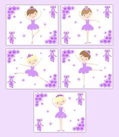 Ballerina Nursery Print Wall Art Baby Girl Purple Lavender Floral Ballet Room #decampstudios
