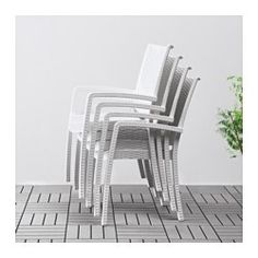 IKEA - INNAMO, Armchair, outdoor, white, You can have several chairs on hand without taking up more space since they are stackable. The materials in this outdoor furniture require no maintenance.