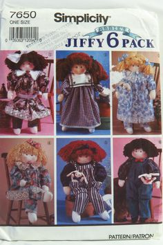 Simplicity 7650 Stuffed Doll and Clothes