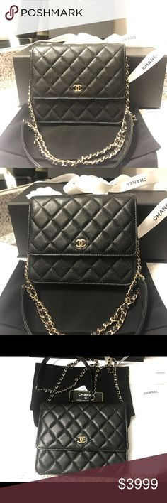 NEW SQUARE WOC Authentic WOC (Wallet on chain) Newest addition to the CHANEL classic line. The square woc is all the rage! Stunning classic timeless bag now made to fit larger smart phones!! Finally! Caviar leather gold hardware. Comes with everything shown dust bag tag chanel box and authenticity card! Ships asap! NO TRADES❌❌I DONT TRADE❌❌NO PP❌❌NO LOW BALL OFFERS❌reasonable OFFERS ACCEPTED✅OFFER BUTTON✅please be mindful of the high fees!! Ships out asap! CHANEL Bags Crossbody Bags