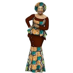 African Clothing Dashiki For Woman O-Neck Full Sleeve Top-Skirt Set Evening Dress Bazin Riche African Fashion Designers, African Men Fashion, Africa Fashion, African Fashion Dresses, African Attire, African Wear, African Dress, Fashion Outfits, African Style