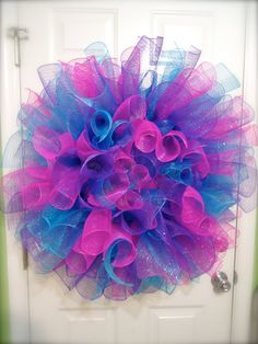 Giant Spiral Curly Deco Mesh Wreath in Neon Pink, Purple, and Blue