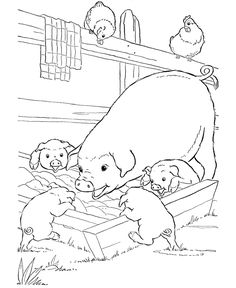 Farm animal coloring page | Pigs slop