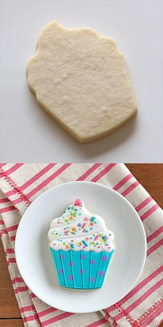 Adorable cupcake decorated cookie Soft and flavorful, easy to cut out and keep their shape beautifully! This is the only sugar cookie recipe you'll ever need! Best Sugar Cookies, Iced Cookies, Sugar Cookies Recipe, Cookies Et Biscuits, Cupcake Cookies, Birthday Cookies, Cupcake Cupcake, Sugar Cookie Icing, Cookies By Design Recipe