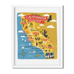 California usa map print art by Melanie Chadwick