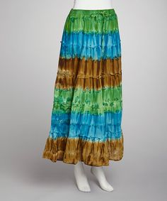 Take a look at this Green & Turquoise Tie-Dye Skirt - Women by SR Fashions on #zulily today!