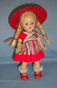 Vintage Strung Vogue Ginny Doll with Painted Lashes Tagged Outfit