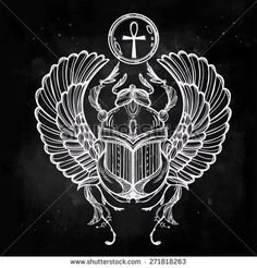 Hand-drawn vintage tattoo art. Vector illustration, symbol of pharaoh, Resurrection element of ancient Egypt, linear style. Scarab beetle of god sun Ra, wings and ankh. Isolated. Chalk on blackboard .