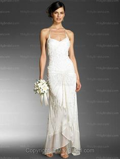 A-line Halter Embroidery Chiffon Floor-length Wedding Dress at Millybridal.com