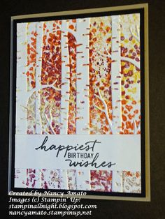 handmade card by Stampin' All Night ... background exploding in Fall colors ...  stamped right on the embossing folder for this awesome look ... Stampin' Up!