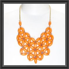 Orange Daisy Bib Necklace
