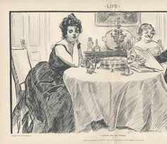 A quiet dinner with Dr. Bottles; after which he reads aloud Miss Babbles latest work. 1900. Metropolitan Museum of Art (New York, N.Y.) Irene Lewisohn Costume Reference Library. Death Becomes Her. Costume Institute. #deathbecomesher #fashionplates