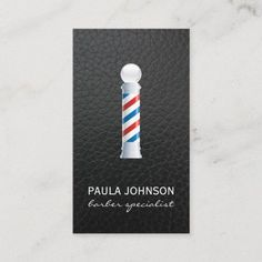 Barber Pole Appointment Leather Background Business Card Barber Business Cards, Hairstylist Business Cards, Professional Business Cards, Hair Specialist, Paper Texture, Appointments, Things To Come, Create, Prints
