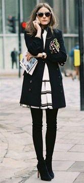 Combinação possível: trench coat + vestido + over the knee