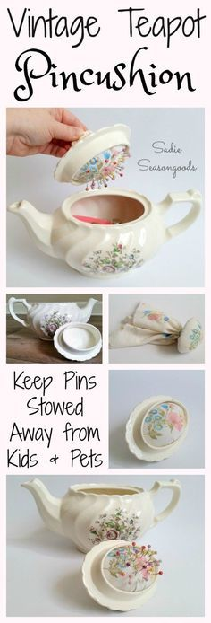 One of Sadie Seasongoods signature repurpose projects...a vintage, chipped teapot from the thrift store is upcycled into a secret, hidden pincushion and sewing box / caddy. Perfect for stowing straight pins safely and hidden from curious pets and children! #SadieSeasongoods / http://www.sadieseasongoods.com