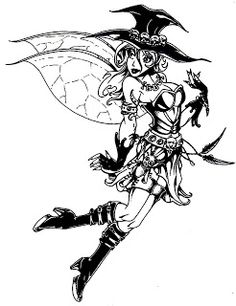 One is a very cute coloring page of Tinkerbell as an emo, goth or punk fairy and the other two are of rather attractive witches. Description from halloweencolorings.blogspot.com. I searched for this on bing.com/images