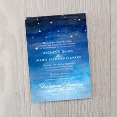 Starry Night Wedding Invitation   Smitten on Paper #weddinginvitationideas #starrynightwedding