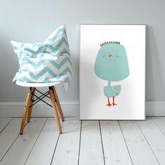 Mr Birdo. Plakat dla dzieci. pokój dziecka | ptak | ilustracja | nursery poster | scandinavian style | bird | animal | baby | illustration | baby room