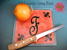 decorated cutting board - glass cutting board from Dollar Tree, mod podge and an image...