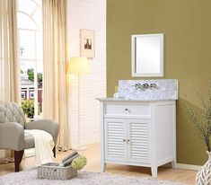 Shutter Spa Premium 32 White Vanity with Black Granite Top