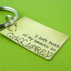 """Doctor Who Both My Hearts Key Chain """"I left both of my hearts in Gallifrey"""""""