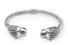Gold & Silver cable bangle, lion head with 18K gold on Eyes