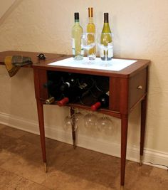 Wine Bar Hand-crafted From Repurposed Sewing by RefreshChicago