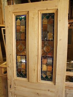 Antique stained glass front door With handpainted glass panels