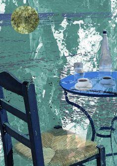 Collage » Kaffee schmeckt im Süden einfach besser «  30 x 40 cm | crop 20 x 30 cm   Source: Acryl bemalter Zeitungsausschnitt simonex/2015, Goldfolie Medium: Reprofotoabzug