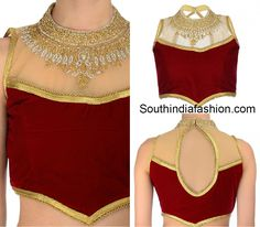 Beautiful Blouse Designs For Sarees South India Specific Styles Of Collar Neck Blouse Patterns UeBorder Blouse Ultimate Latest Blouse Designs For Sarees Keep Latest Blouse Back Neck … Blouse Designs High Neck, Choli Blouse Design, Netted Blouse Designs, High Neck Blouse, Saree Blouse Designs, Blouse Styles, Sleeveless Blouse, Sheer Blouse, Net Blouses