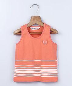 Another great find on #zulily! Beebay Orange & White Stripe Tank - Infant, Toddler & Boys by Beebay #zulilyfinds