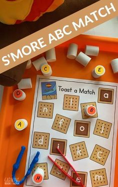 Toast yourself an alphabet match in this s'more themed abc match activity. Includes a free printable for hands-on learning fun. #alphabetactivities #printable #abc #preschool #prek #finemotoractivity #GrowingBookbyBook #learningactivity #earlyliteracy Picnic Activities, Alphabet Activities, Hands On Activities, Literacy Activities, Alphabet Worksheets, Hands On Learning, Learning The Alphabet, Fun Learning, Early Learning