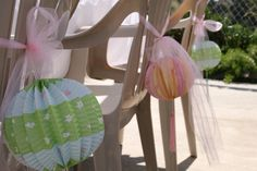 Bridal Shower Lanterns with pink tulle