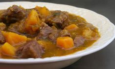 Beef and Butternut Squash Stew. Very good, filling and rich. Did everything the recipe said but did not wait for butternut squash to dissolve. Once butternut squash was soft I added the rest of a carton of beef stock. Entree Recipes, Beef Recipes, Soup Recipes, Cooking Recipes, Fall Recipes, Healthy Recipes, Butternut Squash Cubes, Roasted Butternut Squash, Pumpkin Stew